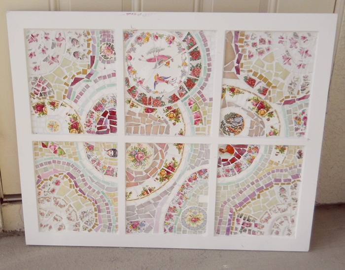Upcycled recycled vintage art pieces for home handmade for Old window panes craft ideas