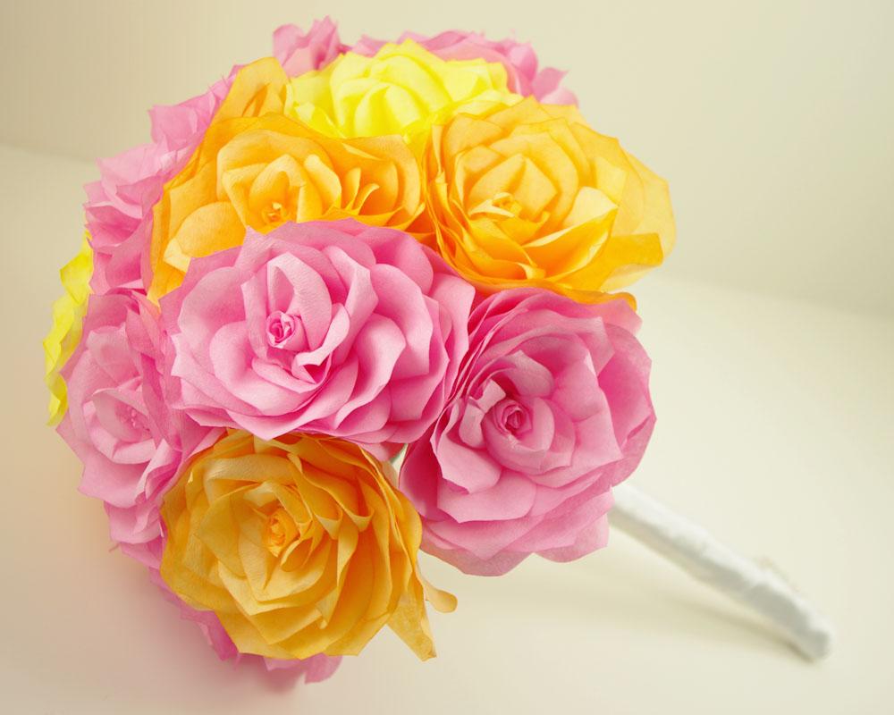 Handmade paper roses rose made from paper handmade for Handmade paper craft ideas